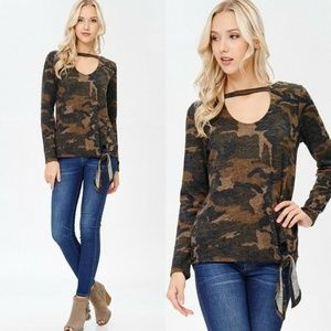 Sweaters - Camo print long sleeve choker sweater top